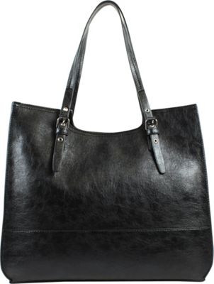 Emilie M Dakota Scoop Double Shoulder Black - Emilie M Manmade Handbags