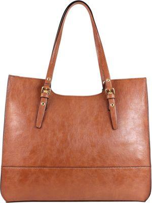 Emilie M Dakota Scoop Double Shoulder Cognac - Emilie M Manmade Handbags
