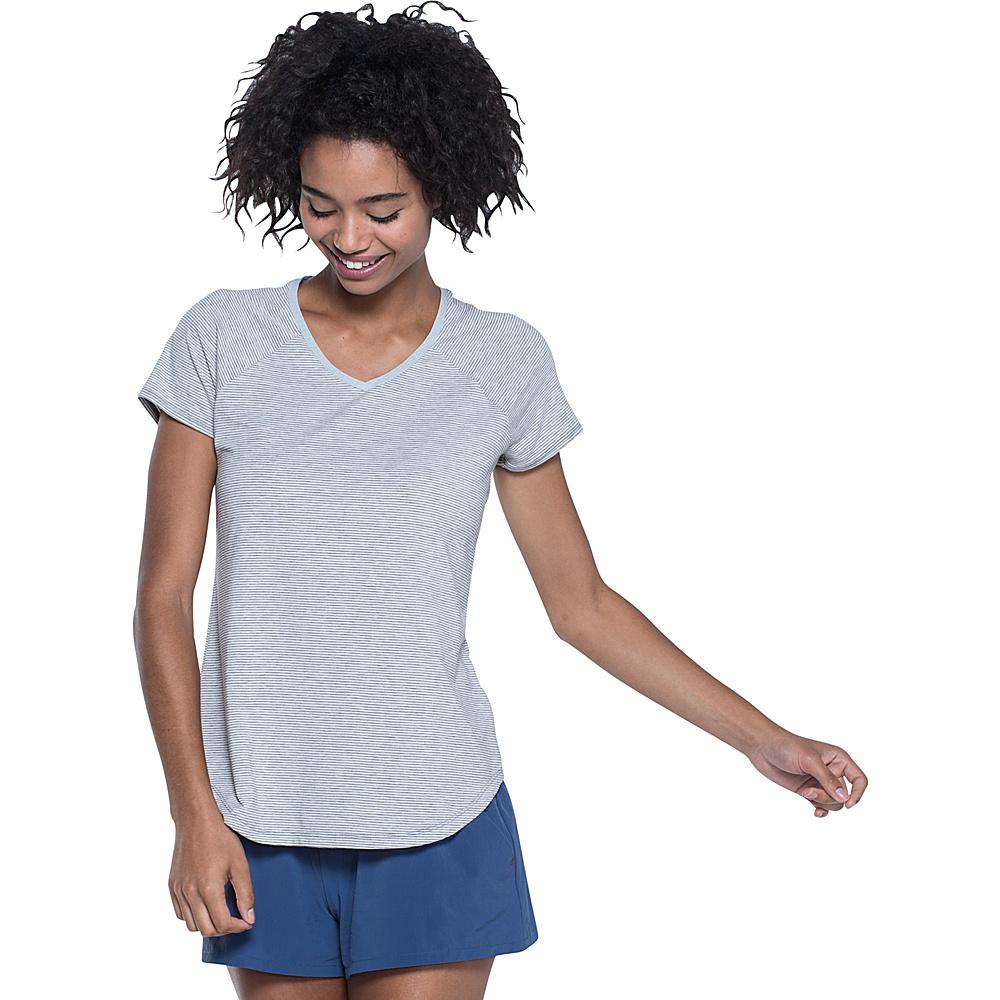 Toad & Co Swifty Short Sleeve Vent Tee XL - Egret Stripe - Toad & Co Womens Apparel - Apparel & Footwear, Women's Apparel