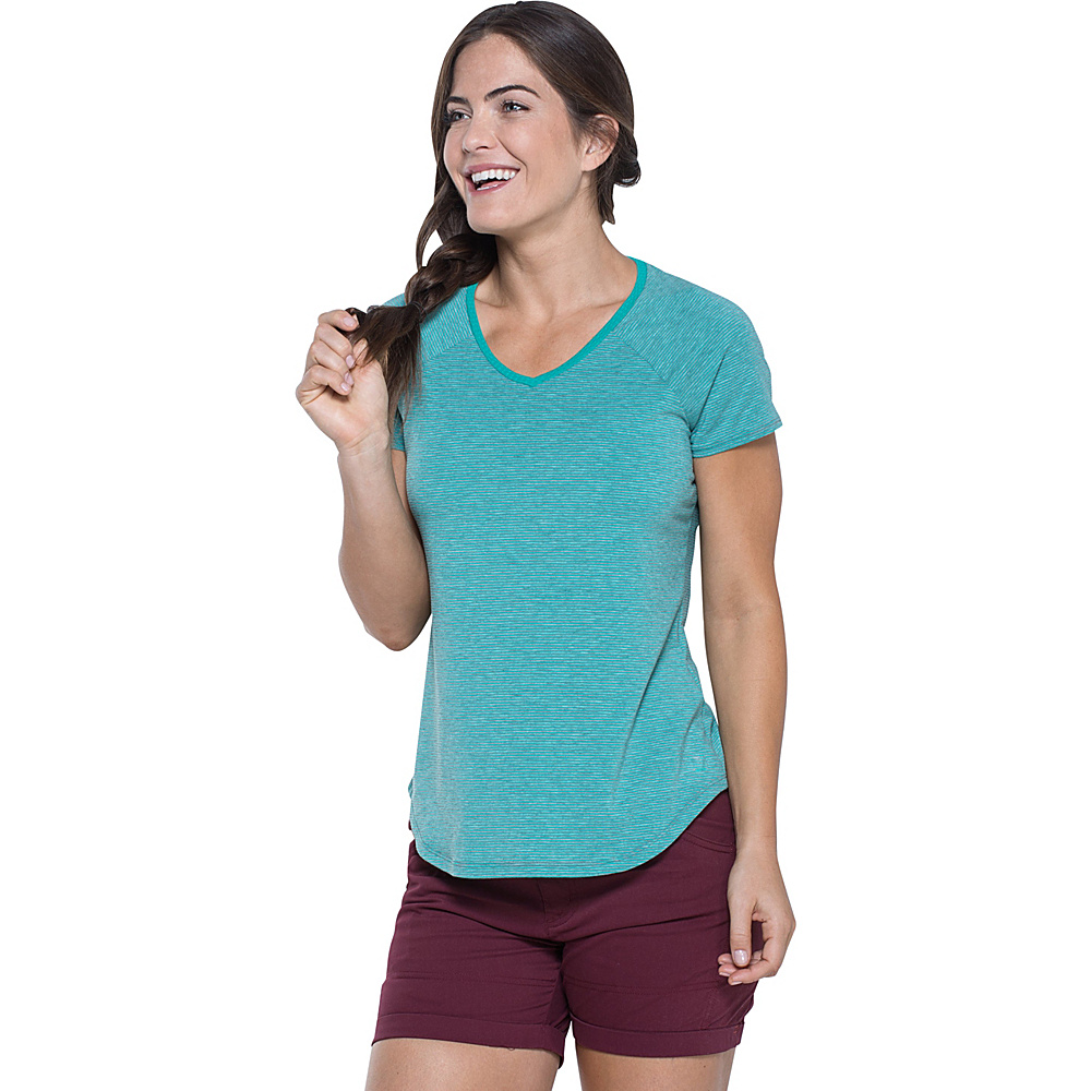 Toad & Co Swifty Short Sleeve Vent Tee S - Turquoise Cove Stripe - Toad & Co Womens Apparel - Apparel & Footwear, Women's Apparel