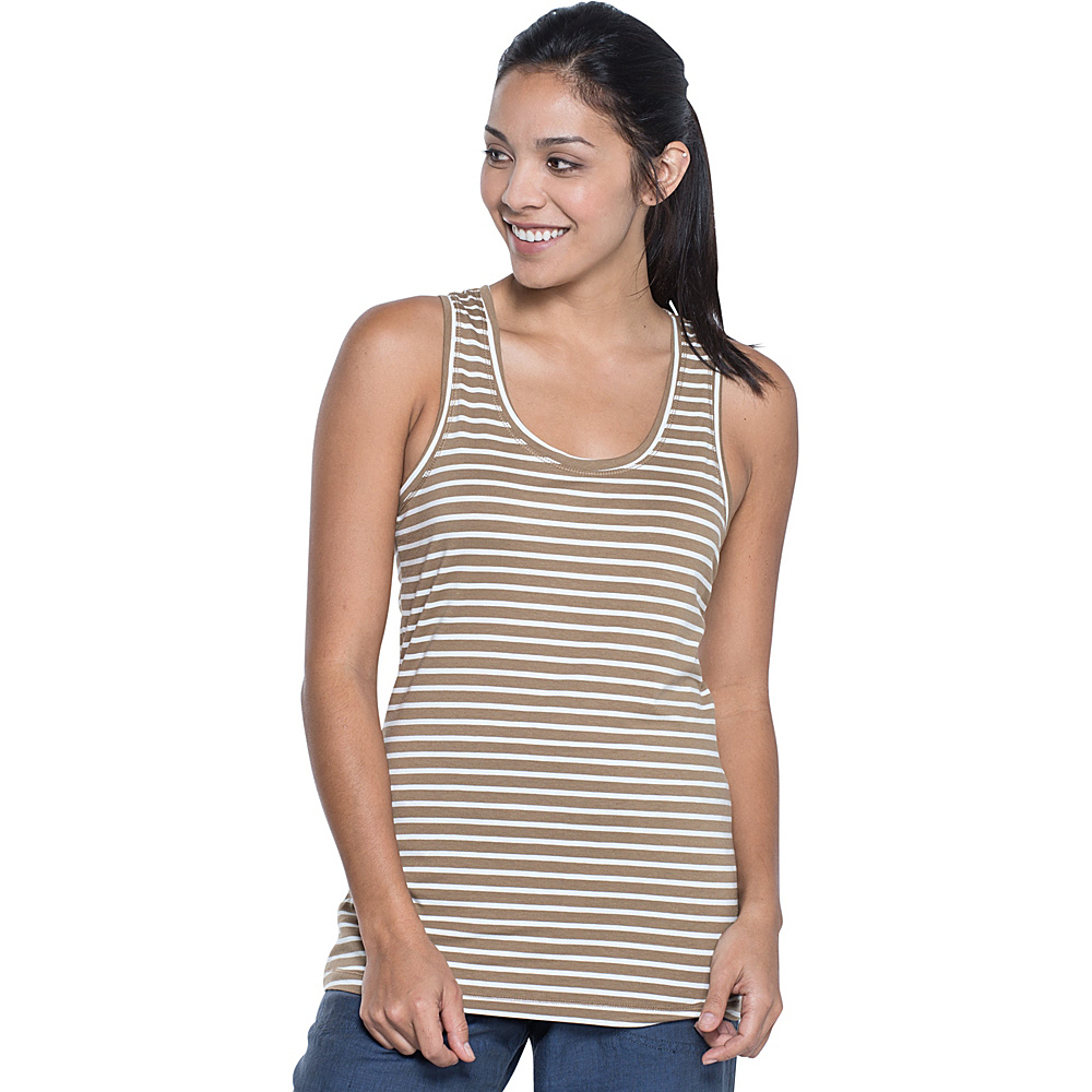 Toad & Co Lean Layering Tank L - Honey Brown Stripe - Toad & Co Womens Apparel - Apparel & Footwear, Women's Apparel