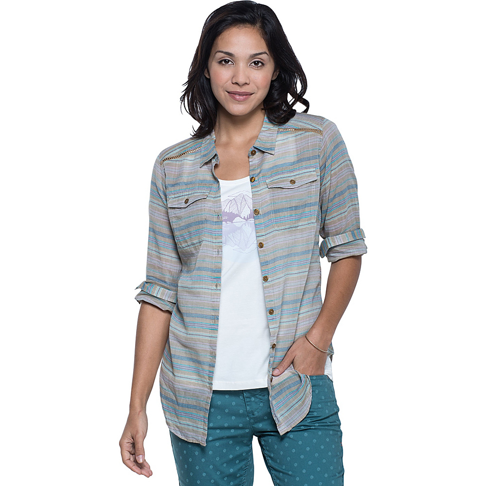 Toad & Co Airbrush Long Sleeve Deco Shirt L - Honey Brown Stripe - Toad & Co Womens Apparel - Apparel & Footwear, Women's Apparel