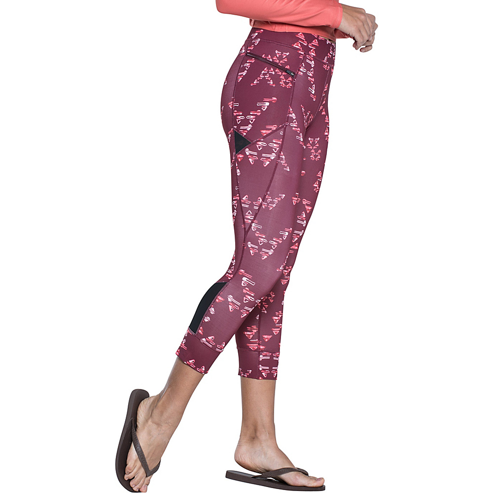 Toad & Co Aquaflex Capri Tight L - 22in - Sangria Water Print - Toad & Co Womens Apparel - Apparel & Footwear, Women's Apparel