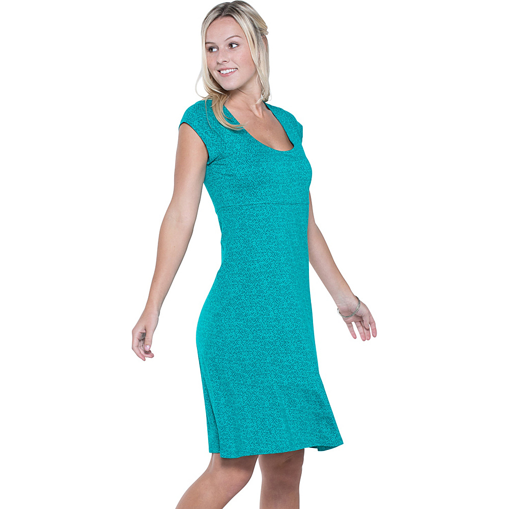 Toad & Co Nena Dress M - Turquoise Cove Geo Print - Toad & Co Womens Apparel - Apparel & Footwear, Women's Apparel