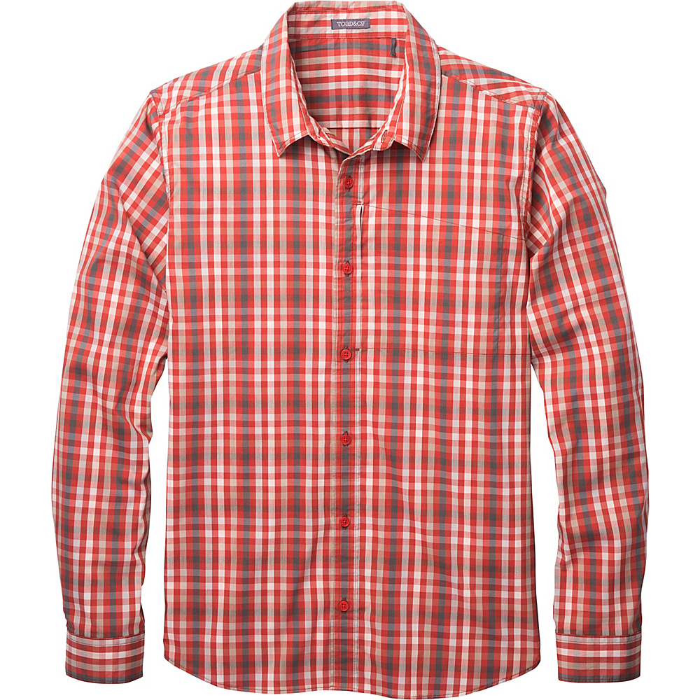 Toad & Co Panorama Long Sleeve Shirt XXL - Red Clay - Toad & Co Mens Apparel - Apparel & Footwear, Men's Apparel
