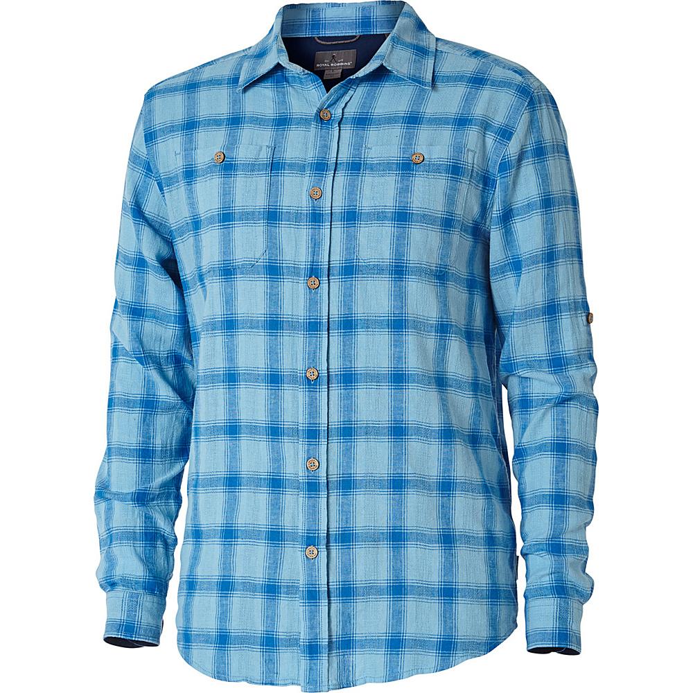 Royal Robbins Mens Cool Mesh Linen Plaid Long Sleeve Shirt L - Bluejay - Royal Robbins Mens Apparel - Apparel & Footwear, Men's Apparel