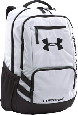 Under Armour Team Hustle Backpack White/Black/Black - Under Armour School & Day Hiking Backpacks