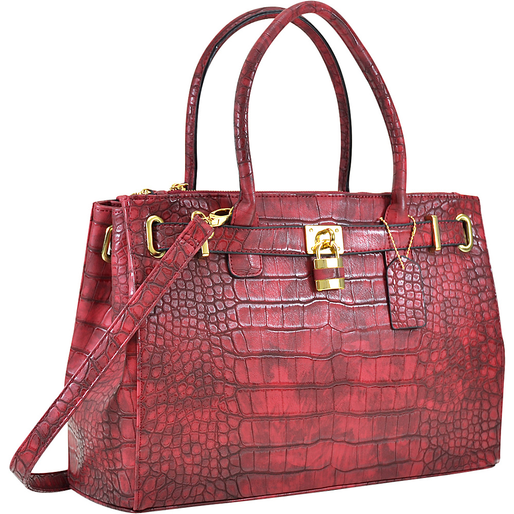 Dasein Faux Crocodile Leather Padlock Shoulder Bags Burgundy - Dasein Manmade Handbags - Handbags, Manmade Handbags