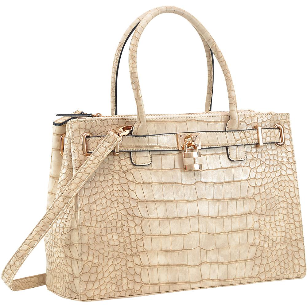 Dasein Faux Crocodile Leather Padlock Shoulder Bags Stone - Dasein Manmade Handbags - Handbags, Manmade Handbags