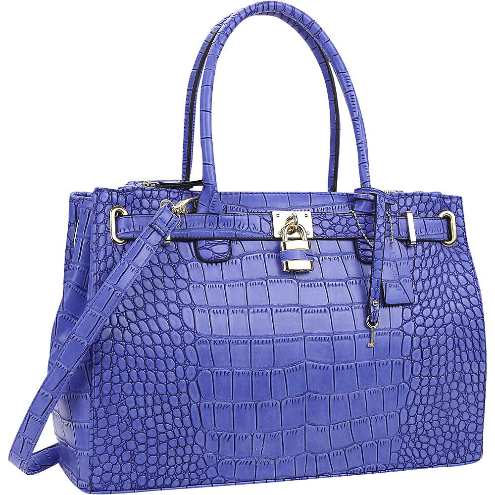 Dasein Faux Crocodile Leather Padlock Shoulder Bags Blue - Dasein Manmade Handbags - Handbags, Manmade Handbags