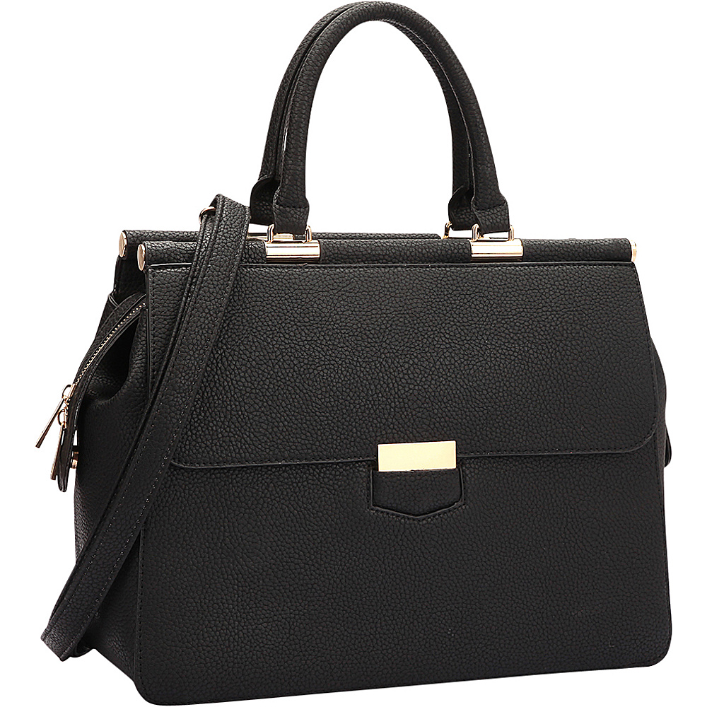 Dasein Briefcase Satchel with Expandable Side Zipper Black - Dasein Manmade Handbags - Handbags, Manmade Handbags