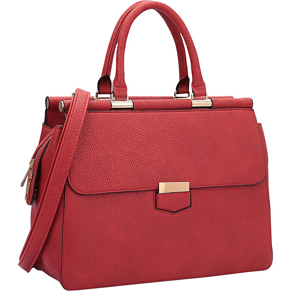 Dasein Briefcase Satchel with Expandable Side Zipper Red - Dasein Manmade Handbags - Handbags, Manmade Handbags
