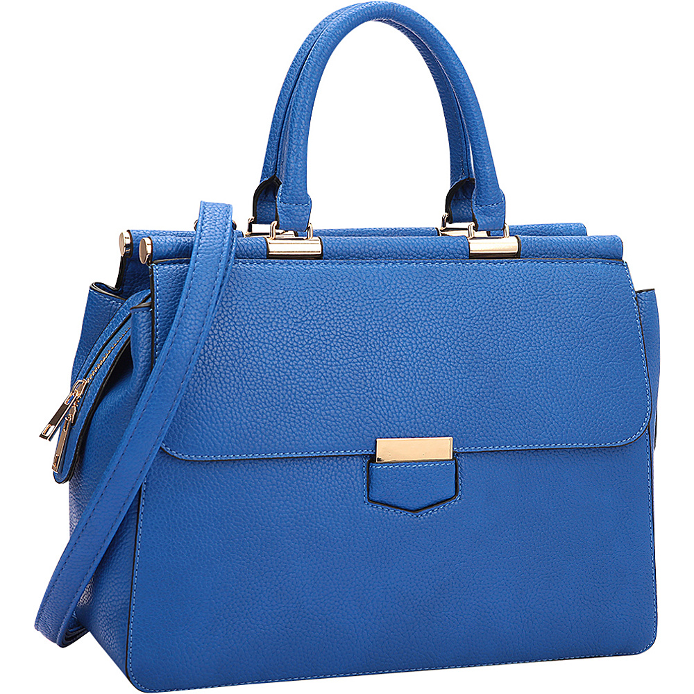 Dasein Briefcase Satchel with Expandable Side Zipper Blue - Dasein Manmade Handbags - Handbags, Manmade Handbags
