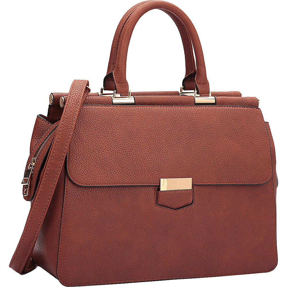 Dasein Briefcase Satchel with Expandable Side Zipper Brown - Dasein Manmade Handbags - Handbags, Manmade Handbags