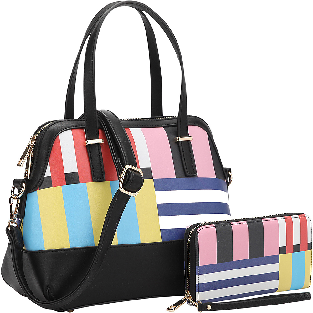 Dasein Floral Leather Satchel with Matching Wallet Stripe/Black - Dasein Manmade Handbags - Handbags, Manmade Handbags