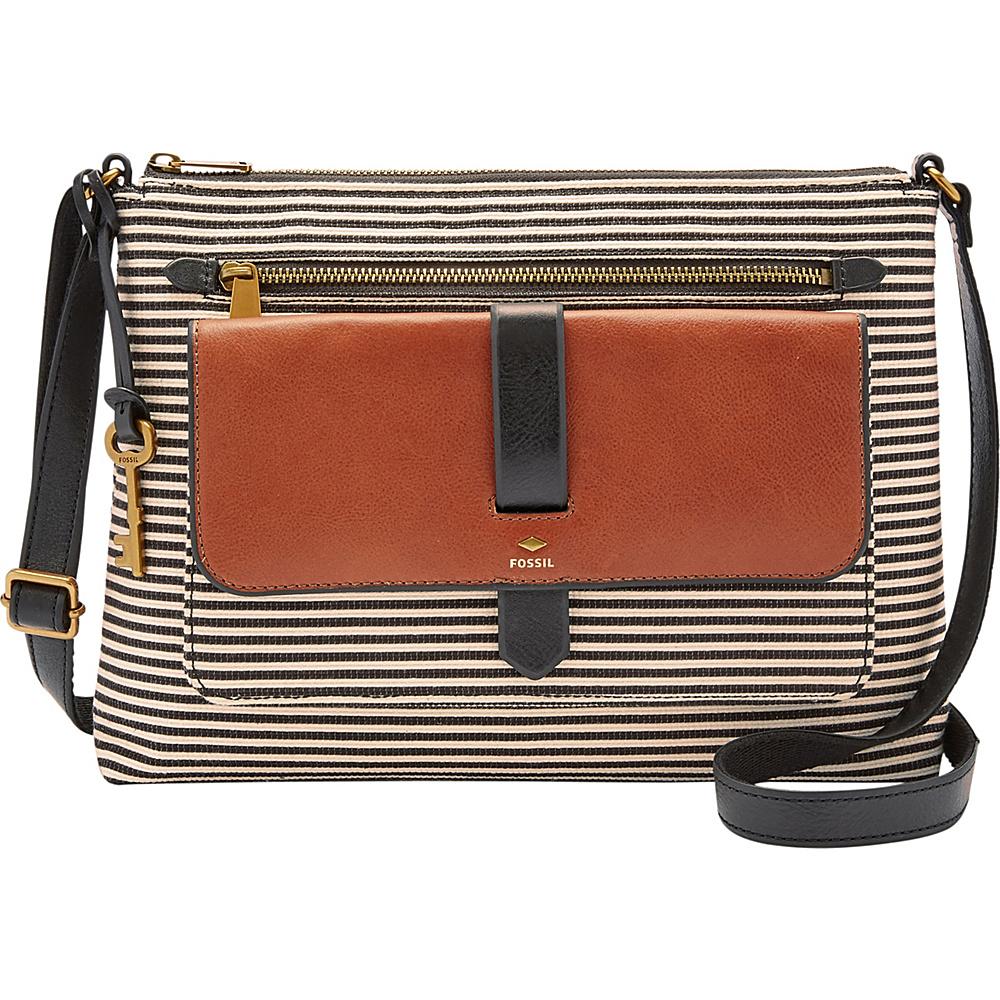 Fossil Kinley Crossbody Black Stripe - Fossil Fabric Handbags - Handbags, Fabric Handbags