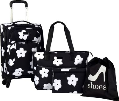Kensie Luggage 4-Piece Fashion Rolling Carry-On Value Set White Floral