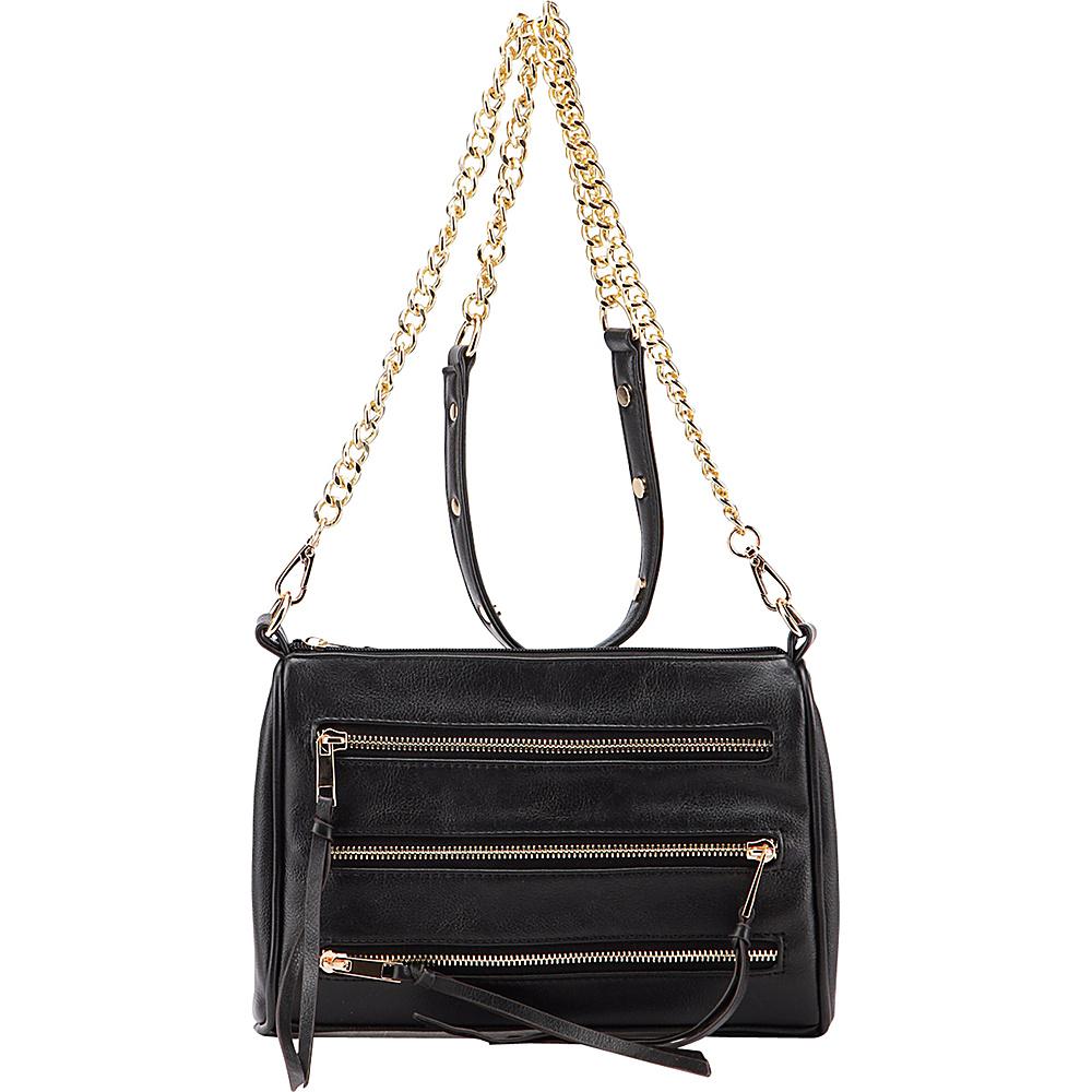 MKF Collection by Mia K. Farrow Arlene 3 Zip Crossbody Black - MKF Collection by Mia K. Farrow Leather Handbags - Handbags, Leather Handbags