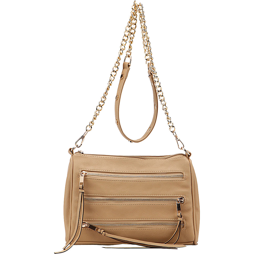 MKF Collection by Mia K. Farrow Arlene 3 Zip Crossbody Apricot - MKF Collection by Mia K. Farrow Leather Handbags - Handbags, Leather Handbags