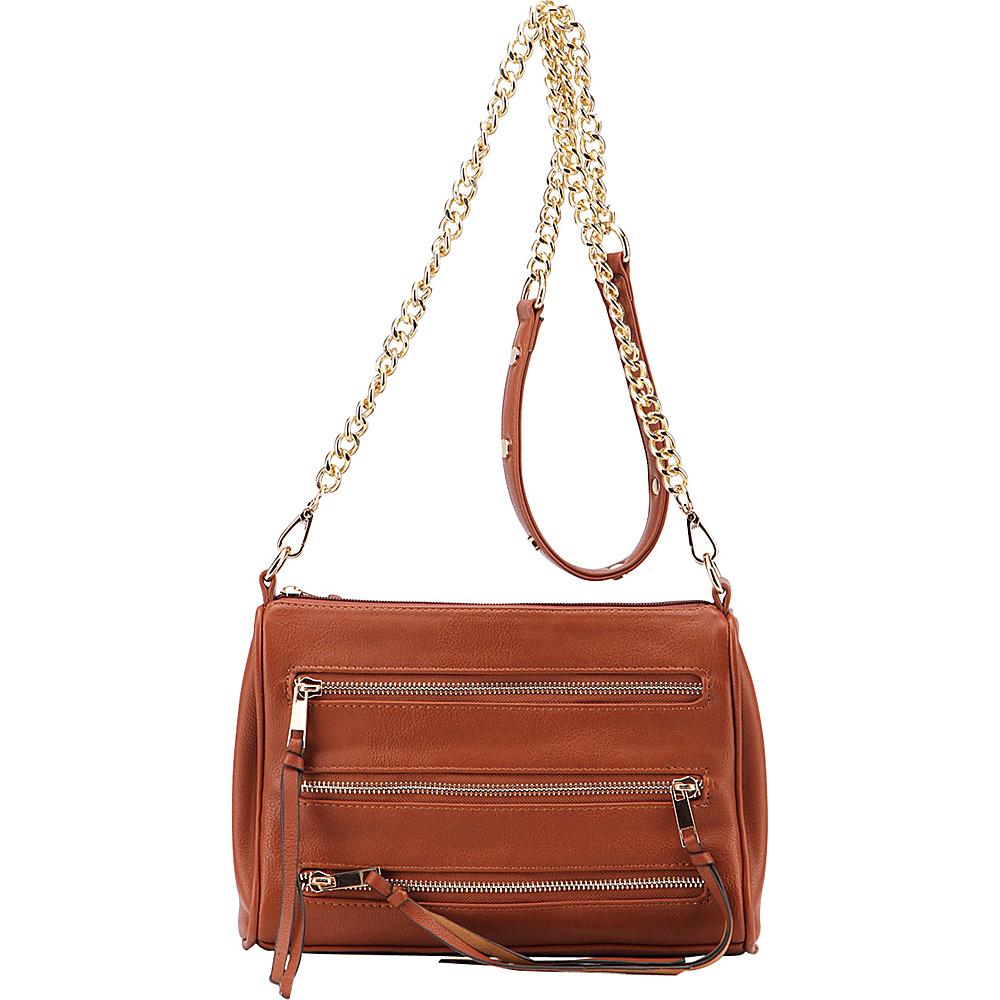MKF Collection by Mia K. Farrow Arlene 3 Zip Crossbody Brown - MKF Collection by Mia K. Farrow Leather Handbags - Handbags, Leather Handbags