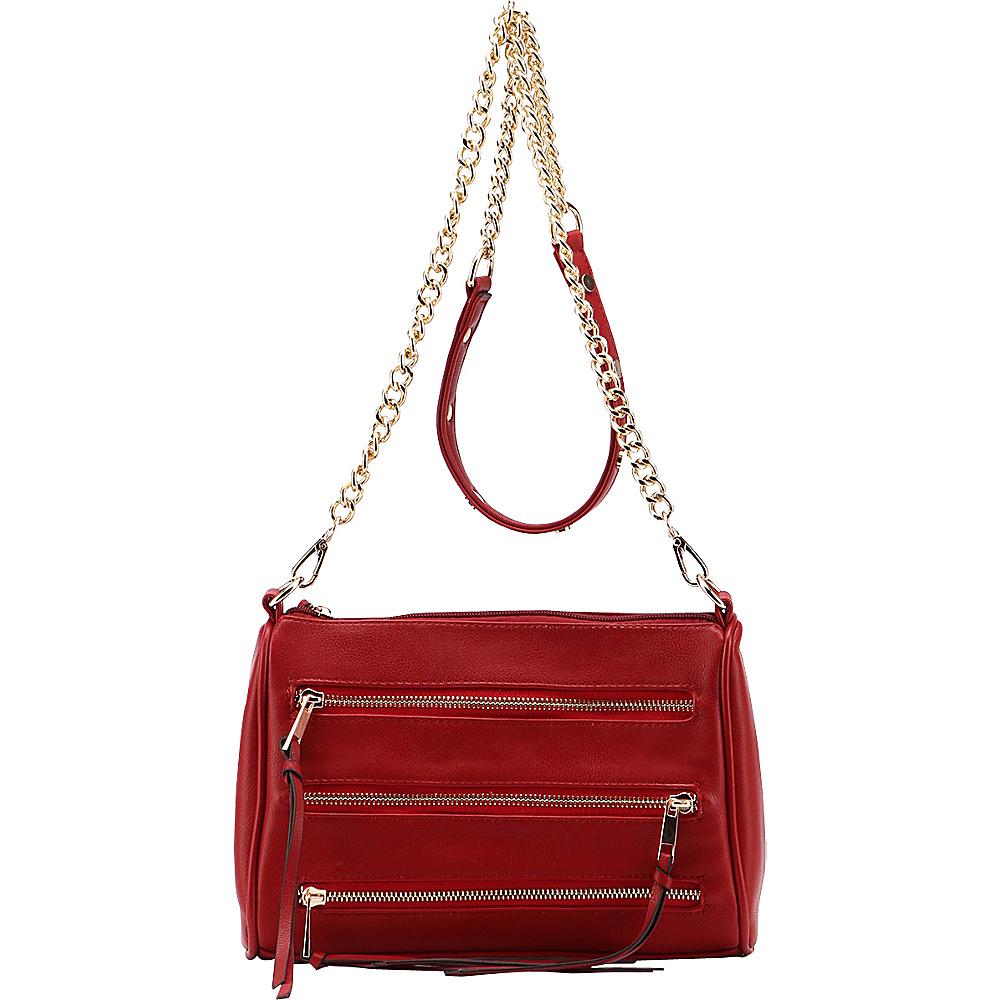 MKF Collection by Mia K. Farrow Arlene 3 Zip Crossbody Dark Red - MKF Collection by Mia K. Farrow Leather Handbags - Handbags, Leather Handbags