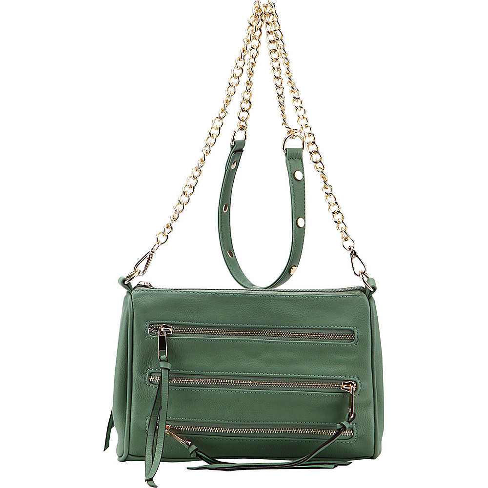 MKF Collection Arlene 3 Zip Crossbody Green - MKF Collection Leather Handbags - Handbags, Leather Handbags