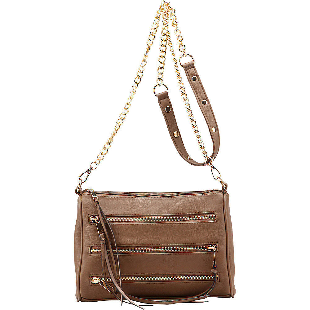 MKF Collection by Mia K. Farrow Arlene 3 Zip Crossbody Grey - MKF Collection by Mia K. Farrow Leather Handbags - Handbags, Leather Handbags