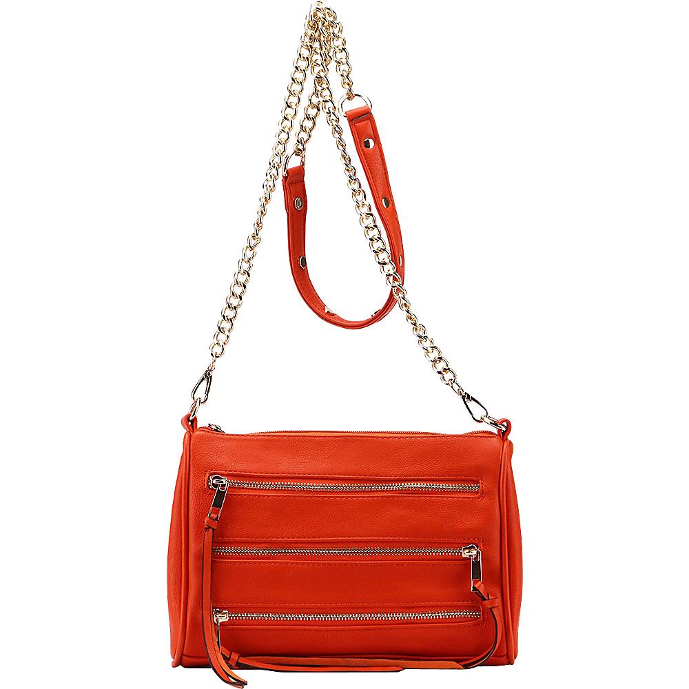 MKF Collection by Mia K. Farrow Arlene 3 Zip Crossbody Orange - MKF Collection by Mia K. Farrow Leather Handbags - Handbags, Leather Handbags