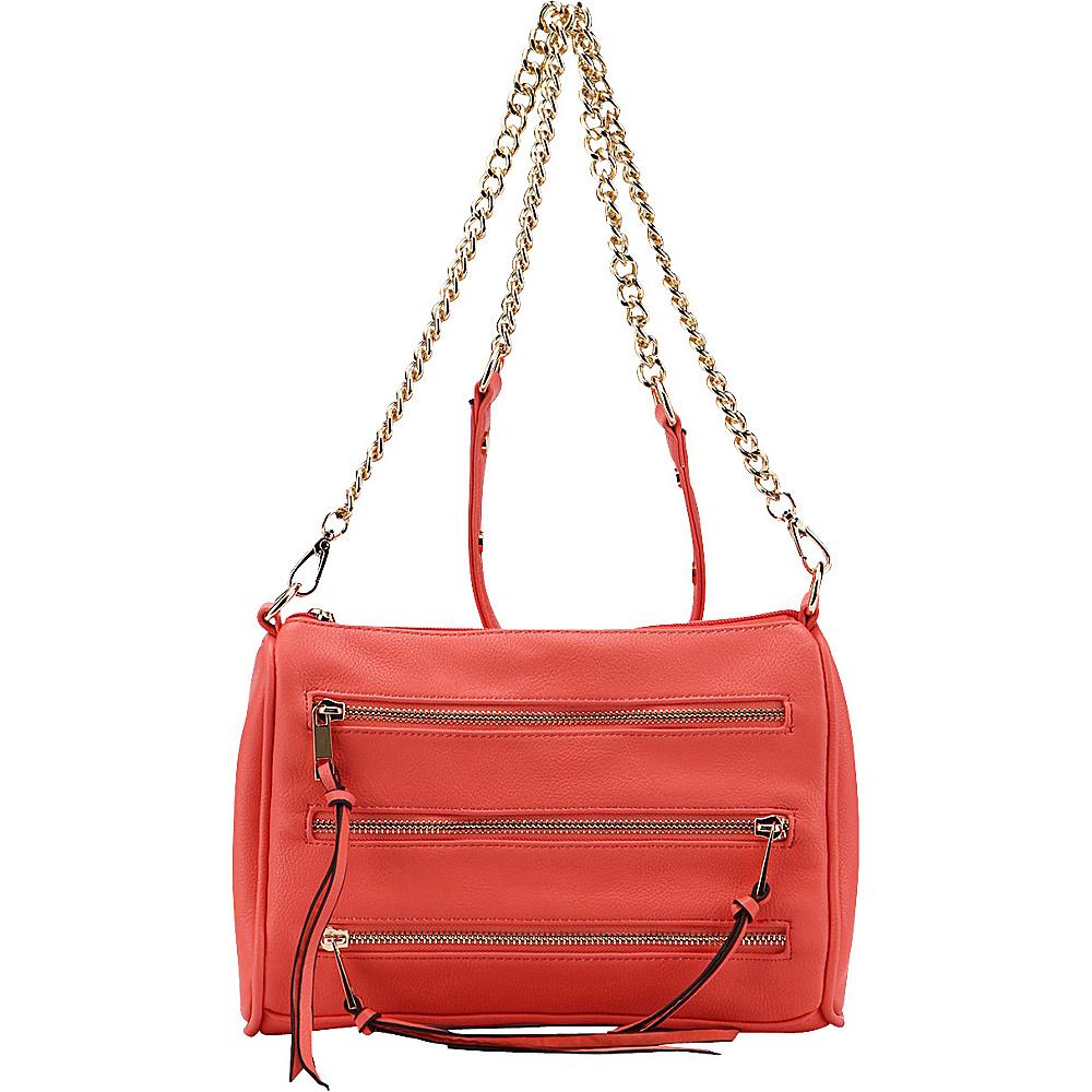 MKF Collection by Mia K. Farrow Arlene 3 Zip Crossbody Pink - MKF Collection by Mia K. Farrow Leather Handbags - Handbags, Leather Handbags