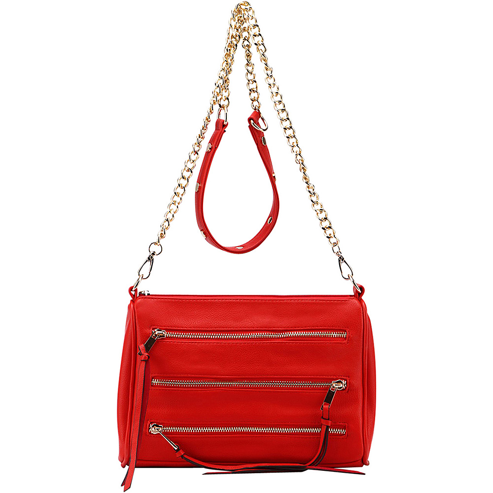 MKF Collection by Mia K. Farrow Arlene 3 Zip Crossbody Red - MKF Collection by Mia K. Farrow Leather Handbags - Handbags, Leather Handbags