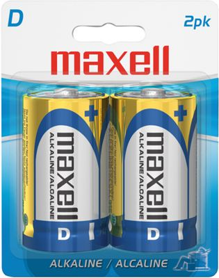 Maxell 2Pk D Alkaline Battery Gold - Maxell Portable Batteries & Chargers