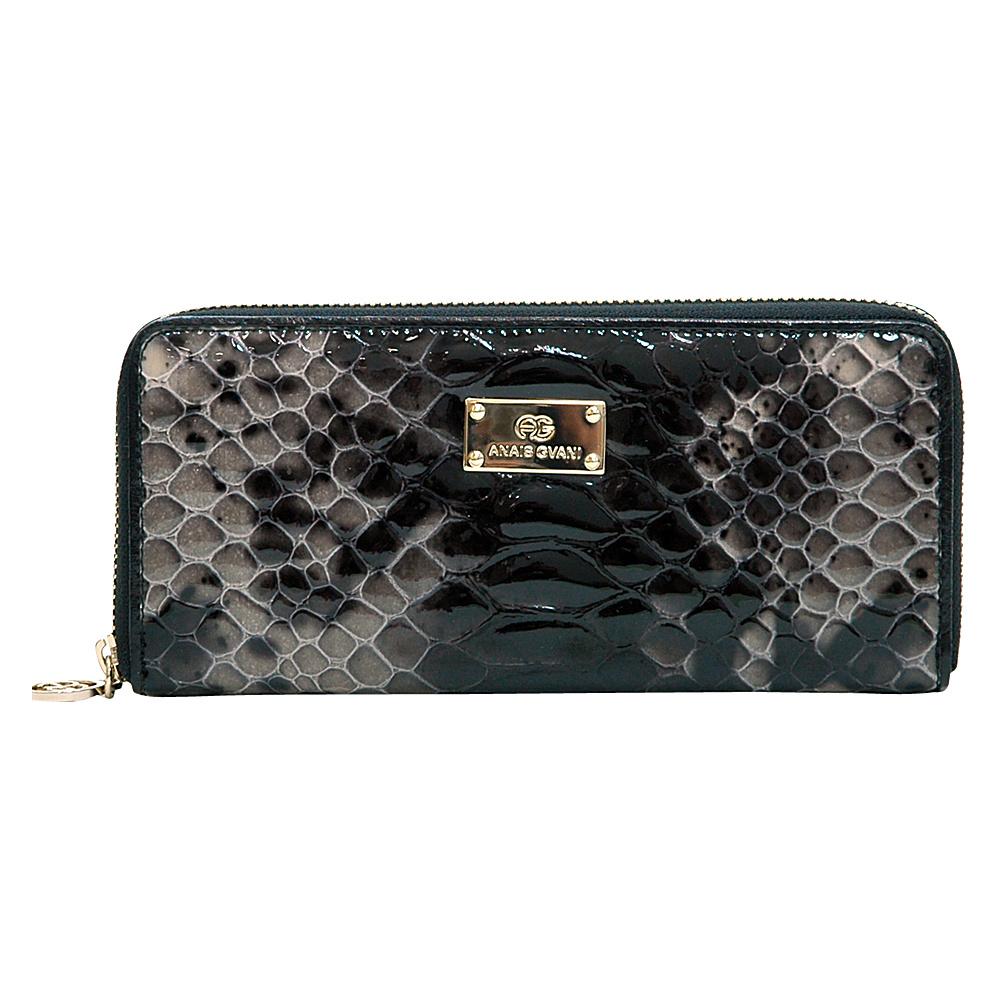 Dasein Womens Snakeskin Zip-Around Wallet Black - Dasein Womens Wallets - Women's SLG, Women's Wallets
