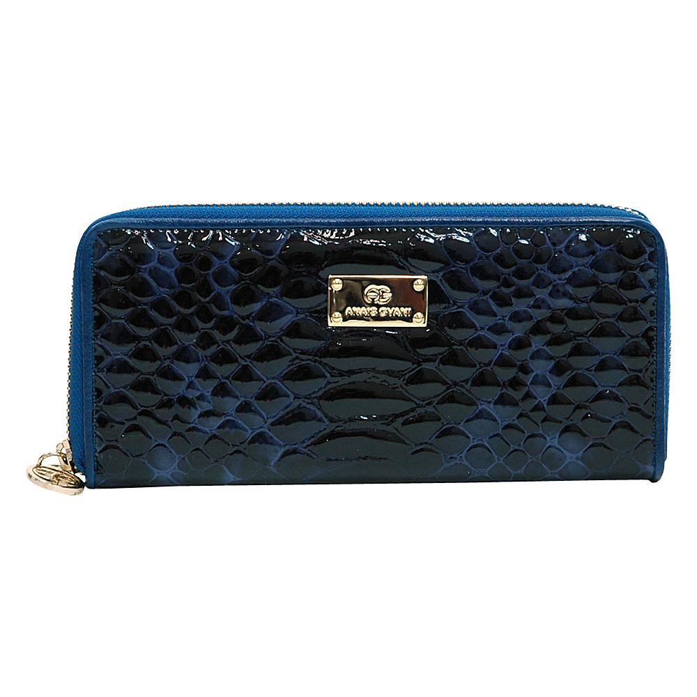 Dasein Womens Snakeskin Zip-Around Wallet Blue - Dasein Womens Wallets - Women's SLG, Women's Wallets