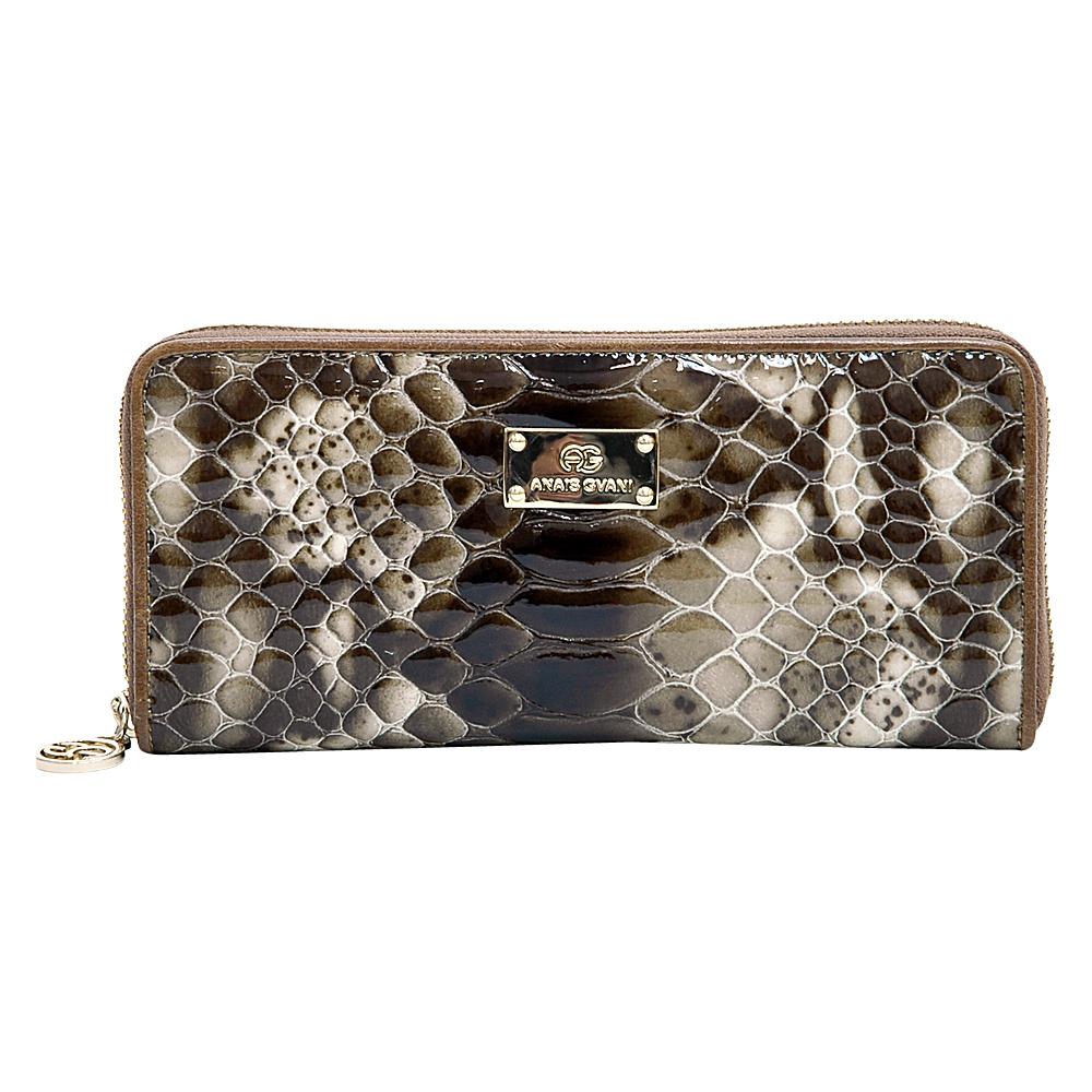 Dasein Womens Snakeskin Zip-Around Wallet Deep Brown - Dasein Womens Wallets - Women's SLG, Women's Wallets