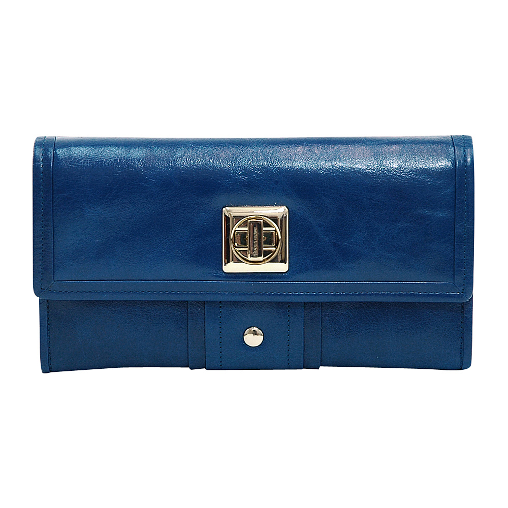 Dasein Womens Gold-Studded Checkbook Wallet Blue - Dasein Womens Wallets - Women's SLG, Women's Wallets