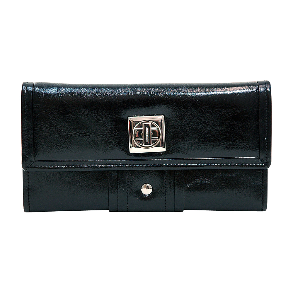Dasein Womens Gold-Studded Checkbook Wallet Black - Dasein Womens Wallets - Women's SLG, Women's Wallets