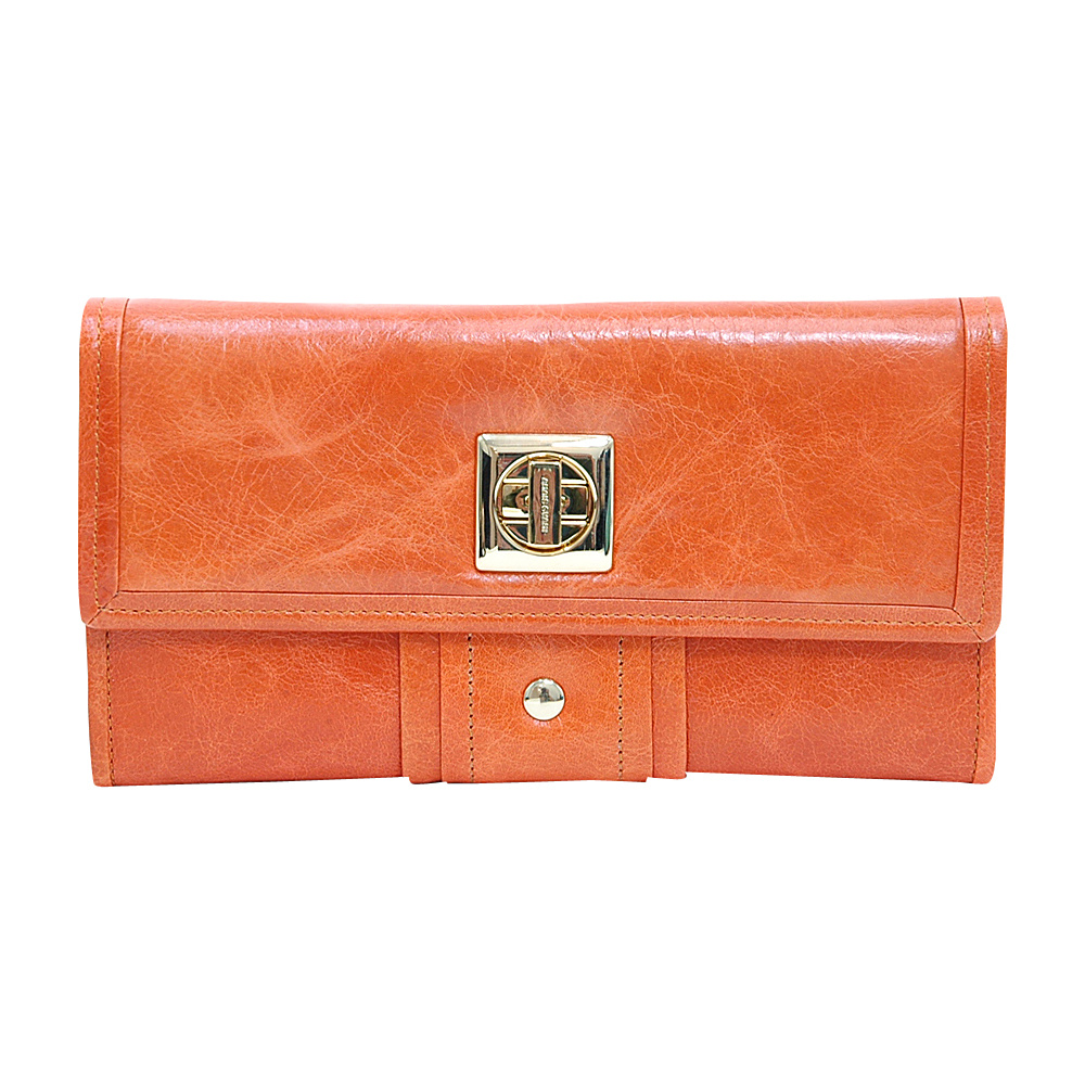Dasein Womens Gold-Studded Checkbook Wallet Orange - Dasein Womens Wallets - Women's SLG, Women's Wallets