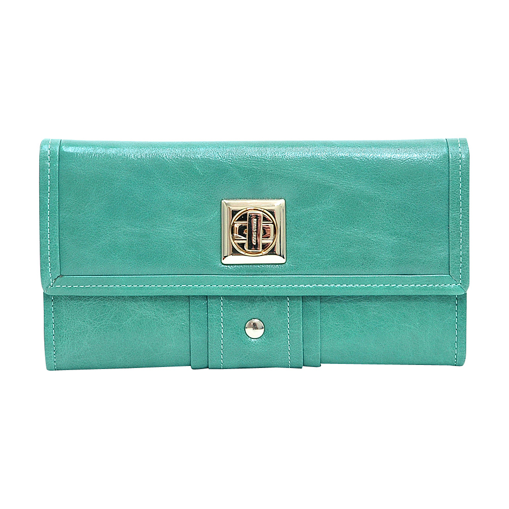 Dasein Womens Gold-Studded Checkbook Wallet Sea Green - Dasein Womens Wallets - Women's SLG, Women's Wallets