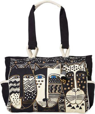 Laurel Burch Wild Cat Black & White Medium Tote With Pockets Wild Cats Black & White - Laurel Burch Fabric Handbags