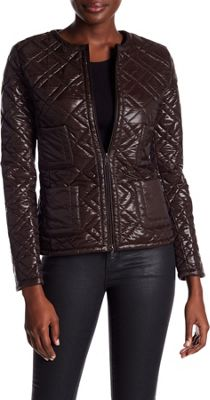 Rolo & Ale Jennifer Geometric Quilted Bomber Jacket M - Chocolate - Rolo & Ale Women's Apparel