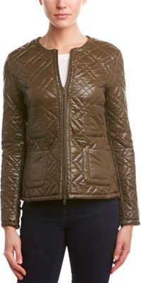 Rolo & Ale Jennifer Geometric Quilted Bomber Jacket S - Olive - Rolo & Ale Women's Apparel