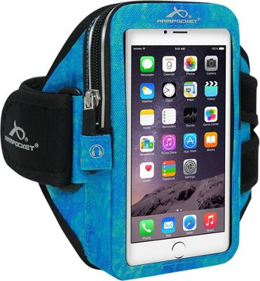 Armpocket MEGA i-40 Multi-Compartment Armband for Devices up to 6.5 inch - Small Strap Length Arctic Blue - Armpocket Electronic Cases