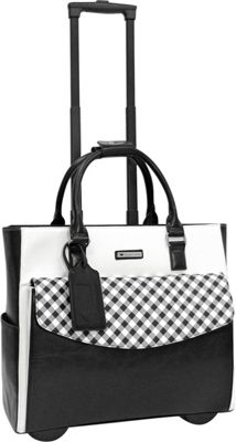 Cabrelli Ginny Gingham Rolling Briefcase Black/White - Cabrelli Wheeled Business Cases