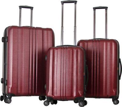 Gabbiano Metallic 3 Piece Expandable Hardside Spinner Luggage Set Burgundy - Gabbiano Luggage Sets