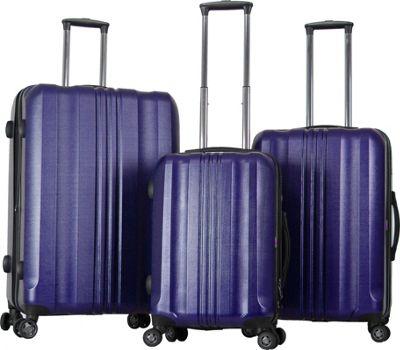 Gabbiano Metallic 3 Piece Expandable Hardside Spinner Luggage Set Blue - Gabbiano Luggage Sets