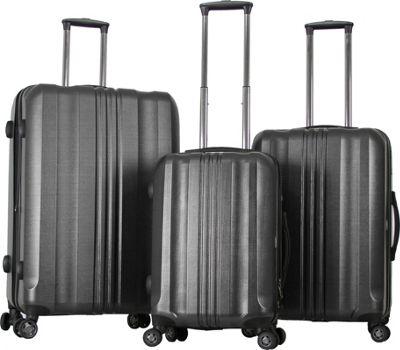 Gabbiano Metallic 3 Piece Expandable Hardside Spinner Luggage Set Dark Grey - Gabbiano Luggage Sets