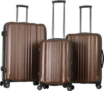 Gabbiano Metallic 3 Piece Expandable Hardside Spinner Luggage Set Coffee - Gabbiano Luggage Sets