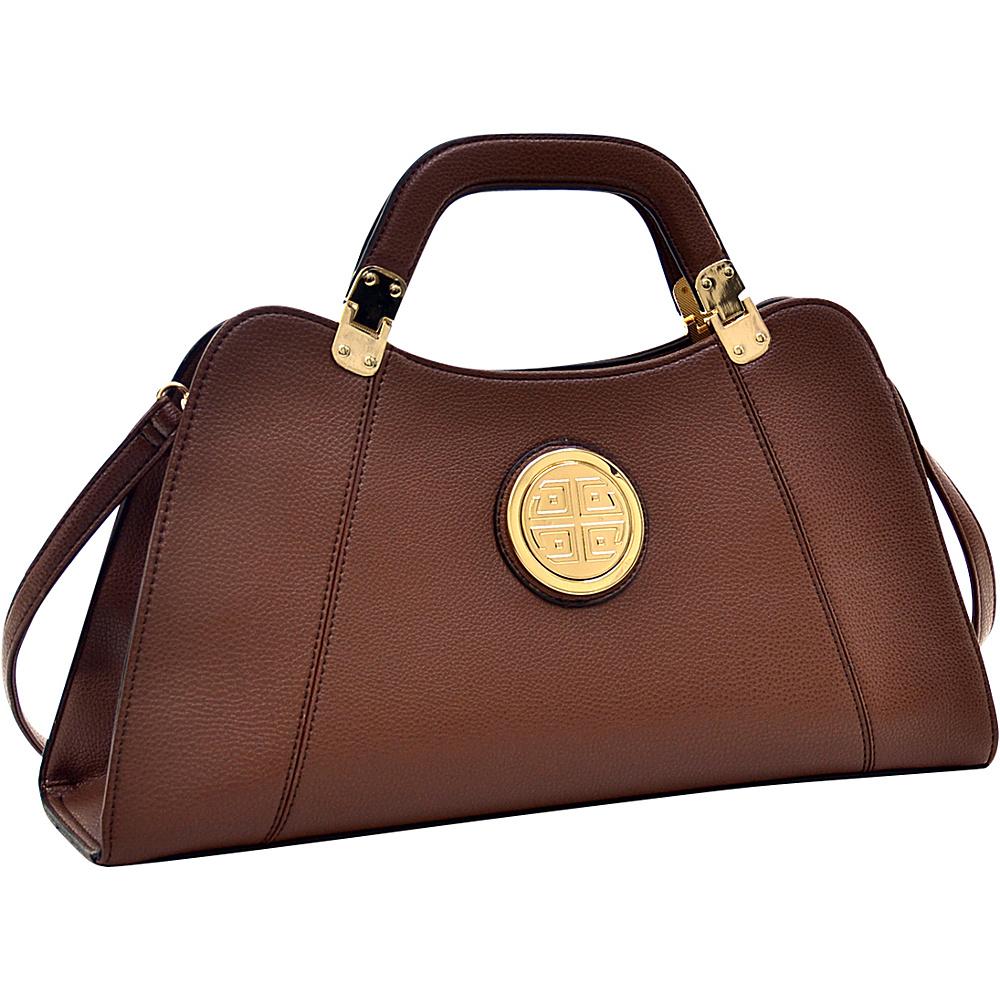 Dasein Emblem Metal Hinge Satchel with Removable Shoulder Strap Brown - Dasein Manmade Handbags - Handbags, Manmade Handbags