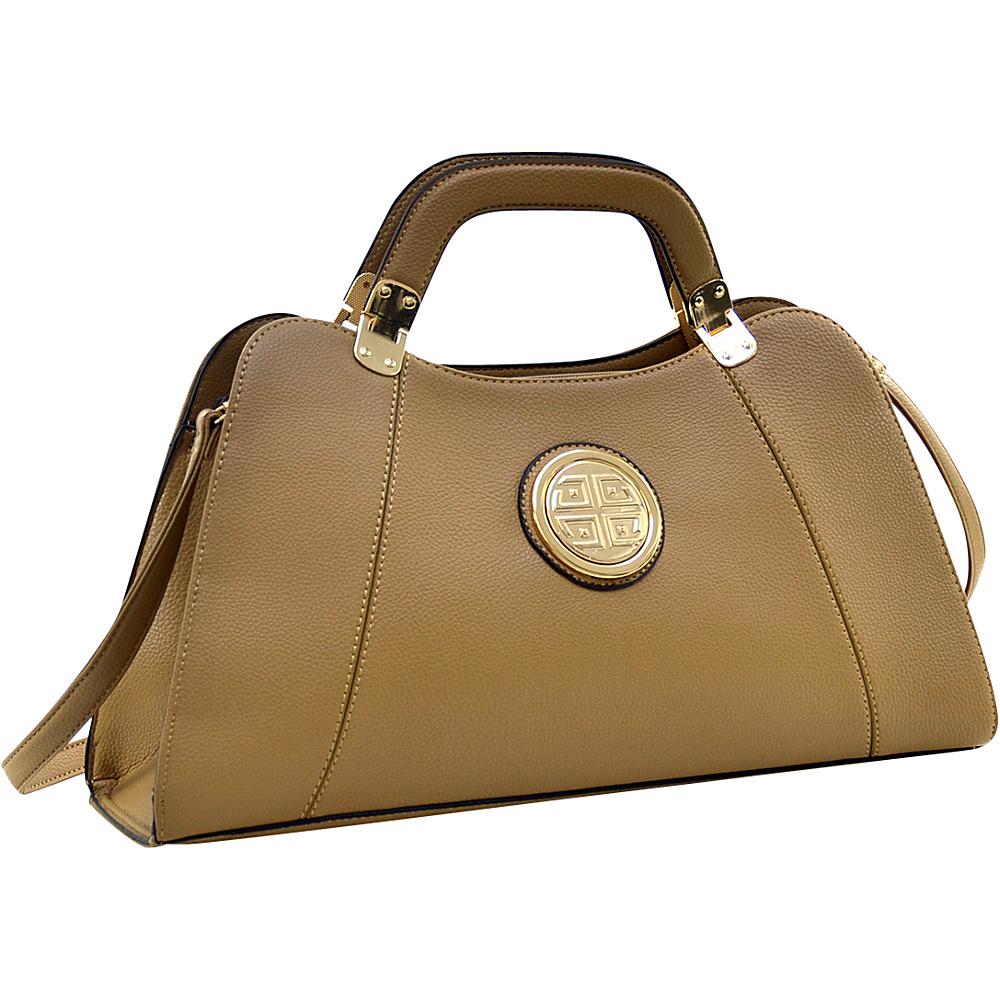 Dasein Emblem Metal Hinge Satchel with Removable Shoulder Strap Sand - Dasein Manmade Handbags - Handbags, Manmade Handbags