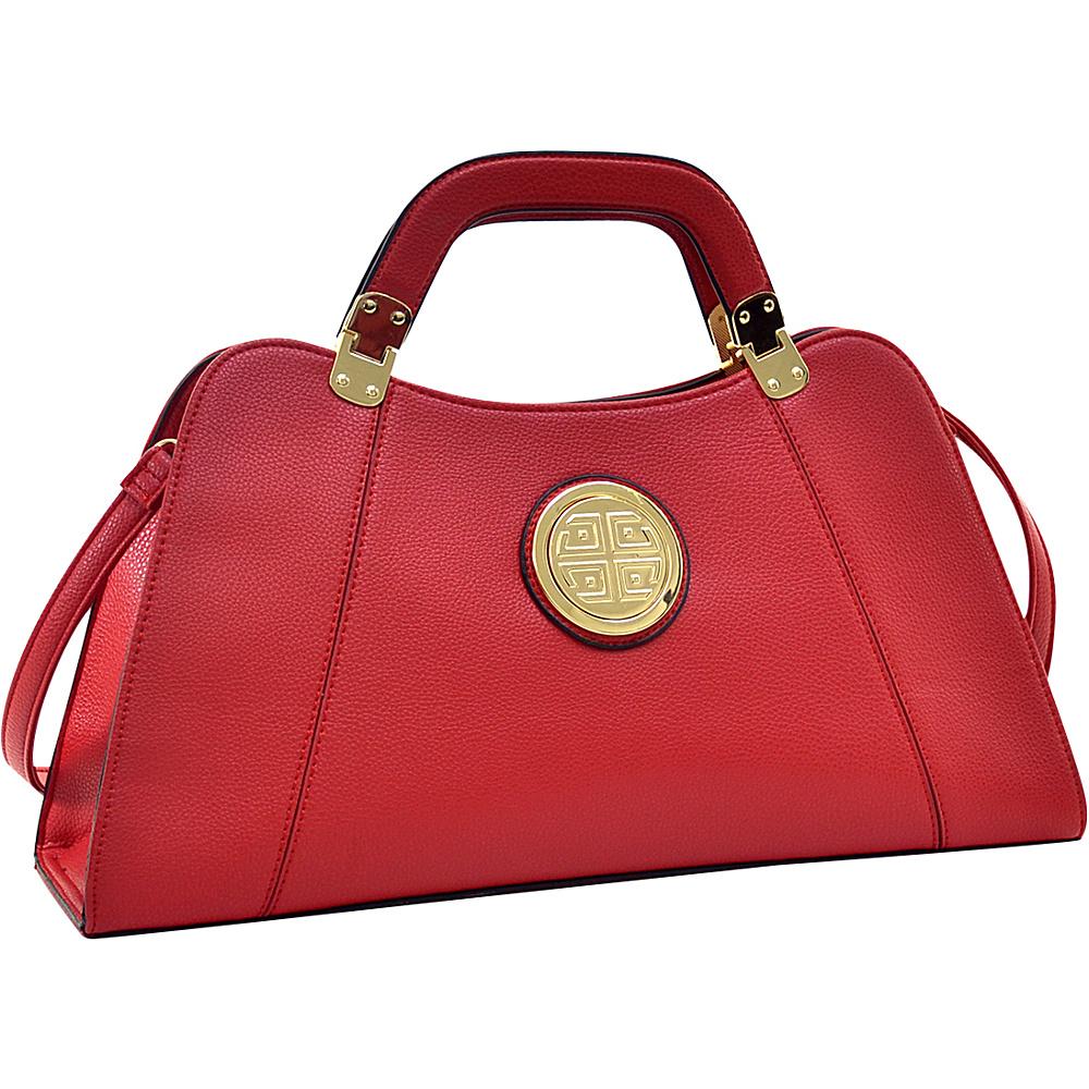 Dasein Emblem Metal Hinge Satchel with Removable Shoulder Strap Red - Dasein Manmade Handbags - Handbags, Manmade Handbags